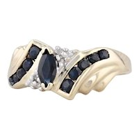 0.64ctw Blue Sapphire Diamond Marquise Bypass Ring 10k Yellow Gold Size 7