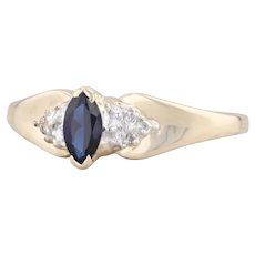 0.25ct Synthetic Sapphire Ring 10k Yellow Gold Size 7 Diamond Accents Engagement