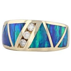 Synthetic Opal Mosaic Diamond Ring 14k Yellow Gold Size 7 Band