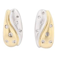0.24ctw Diamond J-Hook Earrings 18k Yellow White Gold Pierced Drop Omega Backs