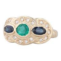 1.4ctw Emerald Sapphire 3-Stone Diamond Halo Ring 14k Yellow Gold Size 6.25