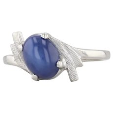 Synthetic Star Sapphire Bypass Ring 10k White Gold Size 5.5 Oval Solitaire