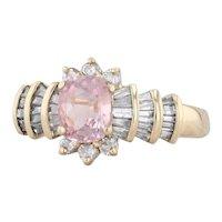 1.64ctw Pink Sapphire Diamond Halo Ring 14k Yellow Gold Size 7.25 Engagement