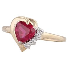 0.77ctw Synthetic Ruby Heart Diamond Ring 14k Yellow Gold Size 7.25 Solitaire