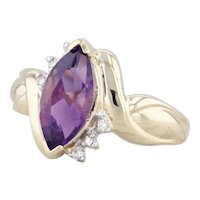 2.25ctw Amethyst Diamond Ring 10k Yellow Gold Size 7 Marquise Solitaire