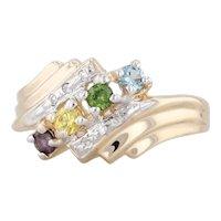 Gemstone Diamonds Mothers Ring 14k Gold Size 5.75 Yellow Green Blue Bypass
