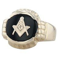 Onyx Masonic Ring - 10k Yellow Gold Size 11 Men's Blue Lodge Square & Compass