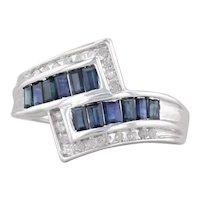 1.12ctw Blue Sapphire Diamond Bypass Ring 10k White Gold Size 7.25