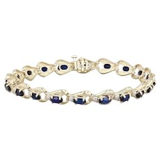 "Synthetic Blue Sapphire Diamond Tennis Bracelet 10k Yellow Gold 7"" 7mm"