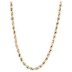 """Rope Chain Necklace 14k Yellow Gold 24"""" 1.7mm Tube Clasp"""