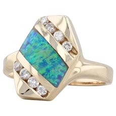 Synthetic Blue Opal Inlay Diamond Ring 14k Yellow Gold Size 7.25 Statement