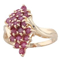 1ctw Ruby Cluster Bypass Ring 14k Yellow Gold Size 6.25 Cocktail