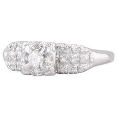 Vintage Diamond Engagement Ring 14k White Gold Size 5.75 Flower