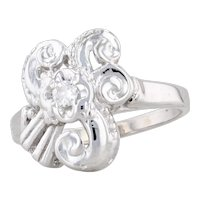 Retro Diamond Swirl Ring 14k White Gold Size 6.25 Round Solitaire