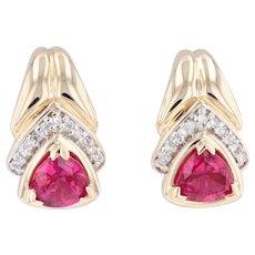2.56 Synthetic Ruby Diamond J-Hook Earrings 14k Yellow Gold Pierced Drop