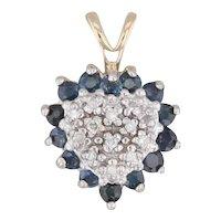 0.61ctw Diamond Cluster Blue Sapphire Heart Halo Pendant 14k Yellow Gold