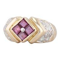 1.28ctw Ruby Diamond Ring 14k Yellow Gold Size 7.25