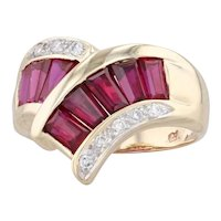 1.67ctw Synthetic Ruby Diamond Bypass Ring 14k Yellow Gold Size 6.75Contour V