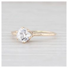 Antique Synthetic White Sapphire 10k Yellow Gold 8.5 Round Solitaire Engagement