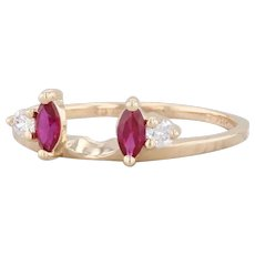 0.41ctw Synthetic Ruby CZ Ring Guard 14k Yellow Gold Sz 8.5 Jacket Wedding Band
