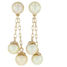 Cultured Pearl Dangle Earrings - 18k Yellow Gold Golden Pearls Vintage