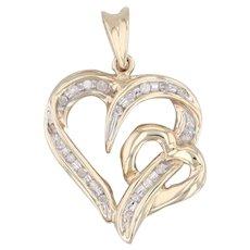 Diamond Open Heart Pendant 10k Yellow Gold Two Interlocking Hearts