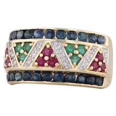 1.65ctw Ruby Emerald Sapphire Diamond Pave Gemstone Ring 10k Yellow Gold Size 8