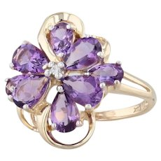 2.36ctw Amethyst Flower Ring 14k Yellow Gold Sz 7 Floral Gemstone Diamond Accent
