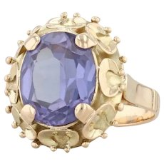 4.65ct Blue Purple Synthetic Sapphire Ring 18k Yellow Gold Sz 5.5 Oval Solitaire