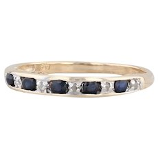 "0.34ctw Sapphire Diamond Ring 10k Gold Sz 7 Stackable Wedding Band ""I Love You"""