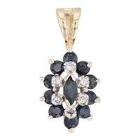 0.58ctw Sapphire Diamond Halo Pendant 14k Yellow Gold Gemstone Drop