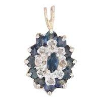 0.84ctw Sapphire Diamond Halo Pendant 14k Yellow Gold Gemstone Drop
