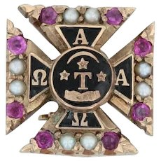 Alpha Tau Omega Cross Badge - 10k Gold Rubies Pearls Pins Fraternity Pin