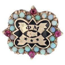Phi Mu Badge - 10k Yellow Gold Opals Synthetic Rubies Sorority Pin
