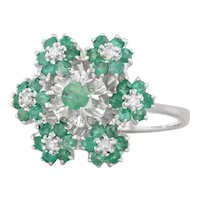 0.69ctw Emerald Diamond Cluster Flower Ring 18k White Gold Size 6.75 Cocktail