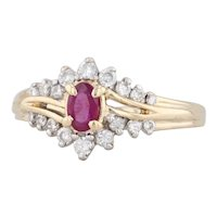 0.47ctw Ruby Diamond Ring 14k Yellow Gold Size 6.25 Engagement