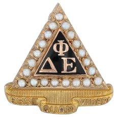 Delta Phi Epsilon Badge - 10k Yellow Gold Pearls Vintage Sorority Pin