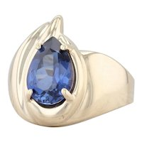 2.60ct Blue Synthetic Sapphire Ring 10k Yellow Gold Size 6 Pear Solitaire