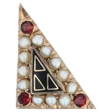 Acacia Fraternity Pin - 10k Yellow Gold Pearls Garnets Vintage Greek Badge