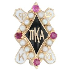 Pi Kappa Alpha Badge - 10k Gold Pearls Rubies Pike Pin Vintage Fraternity