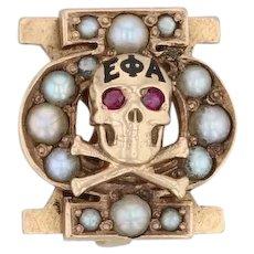 Phi Chi Skull Badge - 14k Gold Pearls Glass Medical Fraternity Pin Vintage Greek