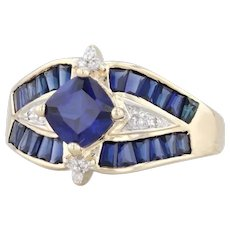 2.03ctw Blue Synthetic Sapphire Diamond Ring 10k Yellow Gold Size 8.25