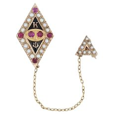 Kappa Psi Badge - 10k Gold Pharmaceutical Fraternity Mask Pin Pearls Rubies
