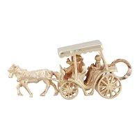 Bermuda Horse & Carriage Souvenir Charm 9k Yellow Gold 3D Moves Keepsake