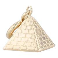 Vintage Pyramid Charm 14k Yellow Gold 3D Pendant Souvenir Keepsake