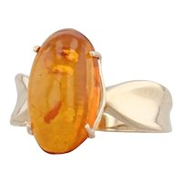 Vintage Orange Amber Solitaire Ring 10k Yellow Gold 8.5 Oval Cabochon Solitaire