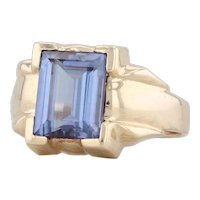 Synthetic Color Change Sapphire 10k Yellow Gold Size 9 Solitaire