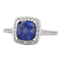 2.12ctw Synthetic Blue Sapphire Diamond Halo Engagement Ring 10k White Gold 6.75