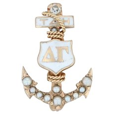 Delta Gamma Badge - 10k Yellow Gold Diamond Pearls Greek Anchor Sorority Pin