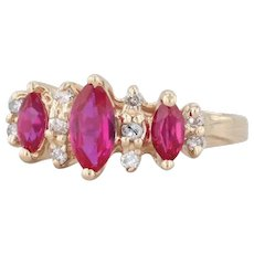 1.05ctw Synthetic Ruby Diamond Ring 14k Yellow Gold Size 5.75 Marquise 3-Stone